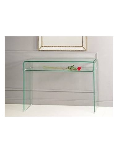 Consola de cristal templado con balda