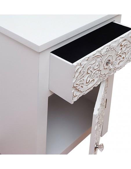 Mesita de noche vintage blanca de diseño árabe exótico con
