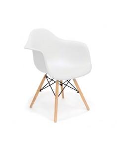 Pack 4 sillones de diseño nórdico color blanco con pata de madera