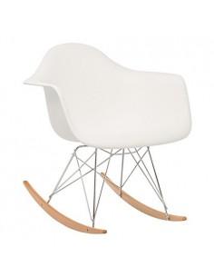Pack 4 sillones balancín color blanco y pata de madera estilo nórdico