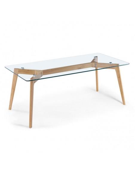 Mesa de centro de cirstal y patas de madera de diseño nórdico