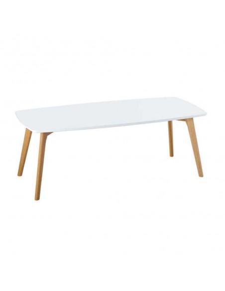 Mesa de centro blanca con patas de madera de diseño nórdico