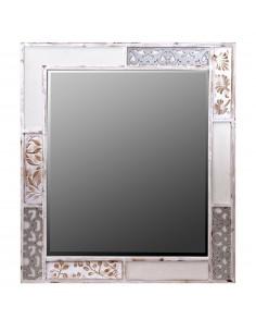 Espejo CASABLANCA con marco de dibujos grabados lacado en blanco