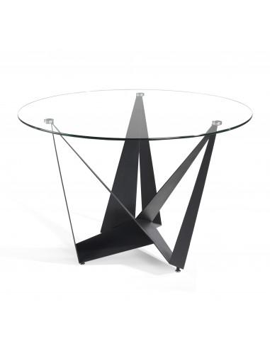 Mesa de comedor redonda de cristal y patas en planchas metálicas negras