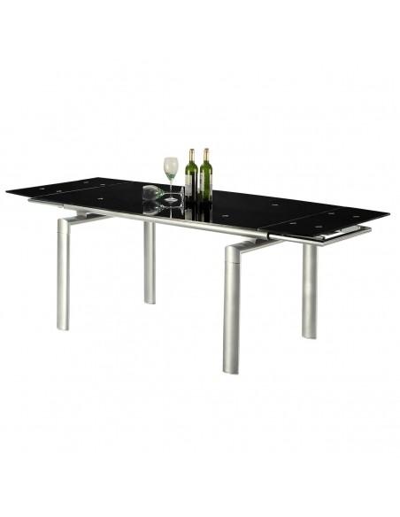 Mesa de comedor extensible con tapa de cristal negro y patas cromadas