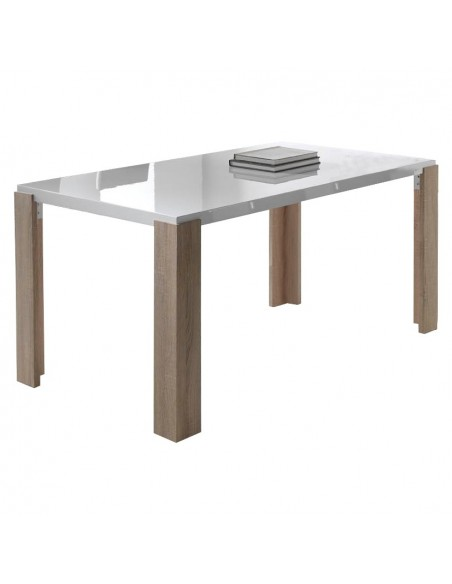 Mesa de comedor lacada en blanco alto brillo y patas color roble claro