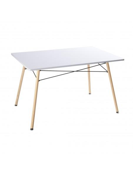 Mesa de comedor nórdica blanca con patas color madera