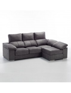 Sofá 3 plazas + puff partido transformable en chaise longue reversible