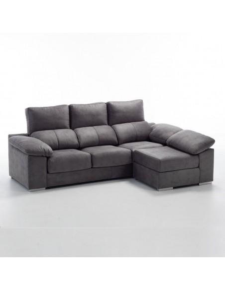 Sofá 3 plazas + puff partido transformable en chaise longue reversible