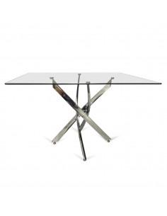 Mesa de comedor de cristal con patas cromadas estilo moderna