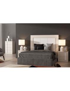 Conjunto completo dormitorio madera de roble lacado en blanco Nordik