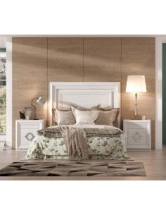 Conjunto dormitorio madera de roble lacado en blanco Havana