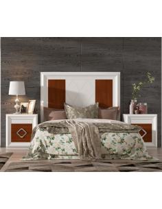 Dormitorio de chapa de roble lacado en blanco y roble