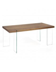 Mesa de comedor con sobre en roble y patas de vidrio templado