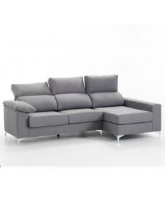 Sofá chaise longue con patas cromadas
