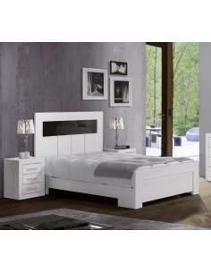 Dormitorio Blanco Pico con cabecero detalle Antracita alto brillo