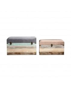 Conjunto de 2 baúles de diseño nórdico tapizados en terciopelo