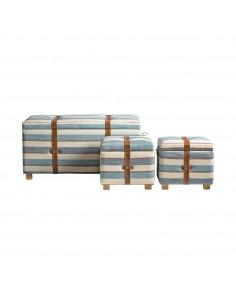 Conjunto 3 banquetas con baúl de diseño retro