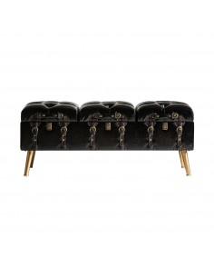 Banco baúl de diseño vintage tapizado en polipiel y patas doradas