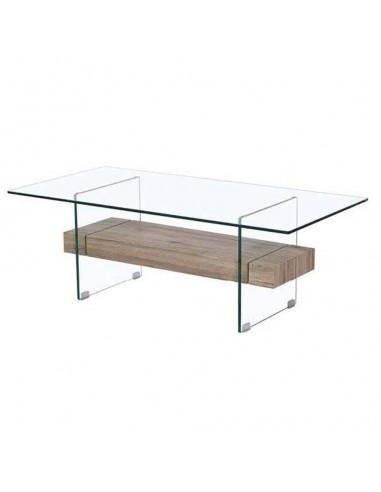 Mesa de centro estructura de cristal y revistero de roble