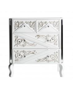 Cómoda blanca de madera 4 cajones con decoraciones florales y espejos biselados