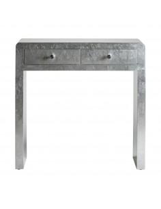 Mueble consola de entrada moderna plata LIDIA SILVER de dos cajones y tiradores de cristal