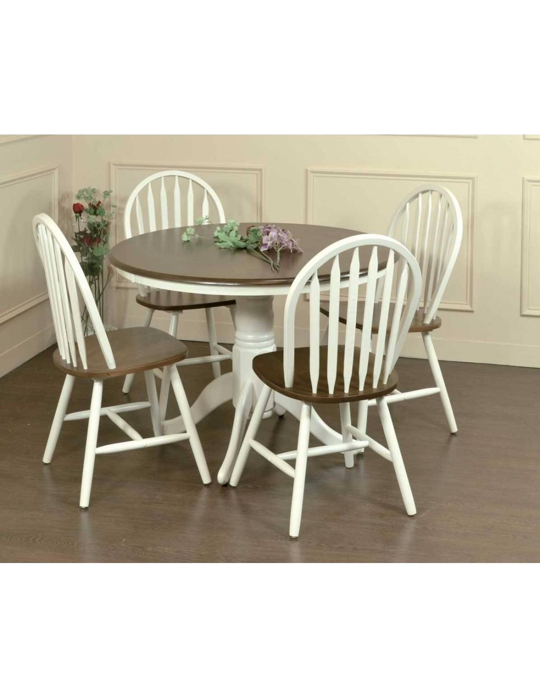 Mesa de comedor blanco y nogal windsor de estilo