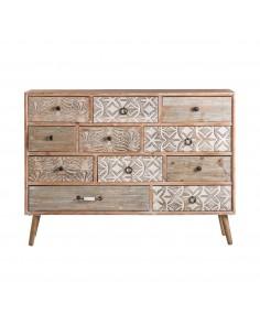Aparador vintage BALI de madera con 11 cajones y detalles decorativos