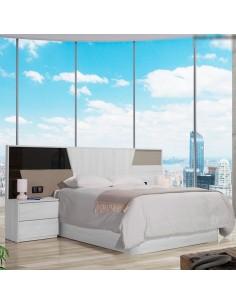 Dormitorio Azores Blanco pino con detalle en antracita alto brillo