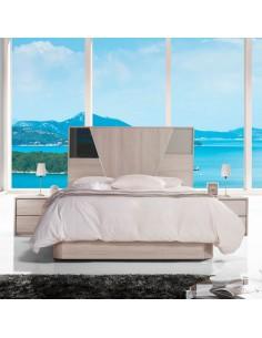 Dormitorio Azores Stella con detalle en antracita alto brillo y visón