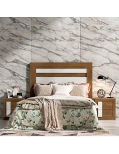 Dormitorio Nordik color madera roble y blanco