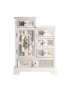 Mueble recibidor blanco de diseño romántico con frente tallado