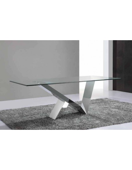Mesa de comedor de cristal templado y estructura acero alto