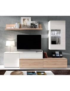 Mueble de salón nórdico color roble y polar