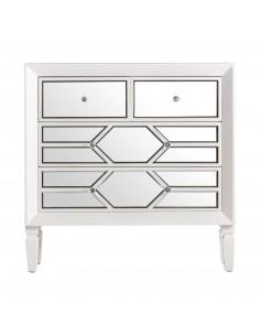 Cómoda forrada de espejo y estructura en color blanco PANAL