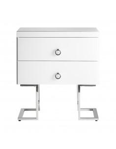 Mesita de noche WHITE FUSSION CROMO moderna/retro blanca y plata