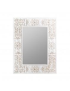 Espejo blanco vintage NOOR con detalles efecto rozado