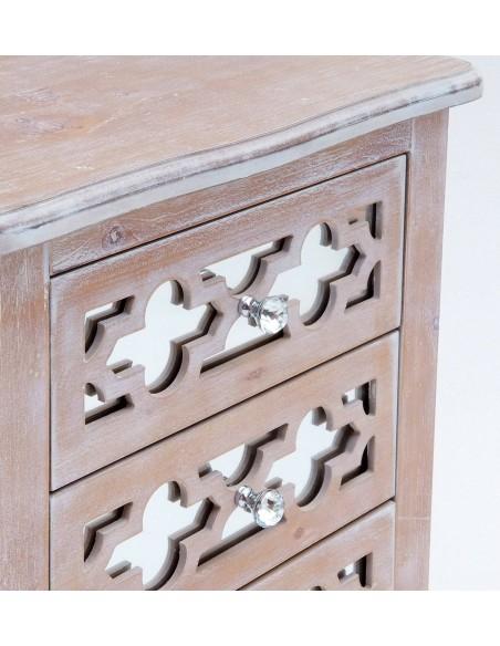 Mesita de noche vintage de madera natural con espejos