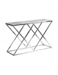 Consola Everest con plancha de vidrio efecto mármol y patas de acero