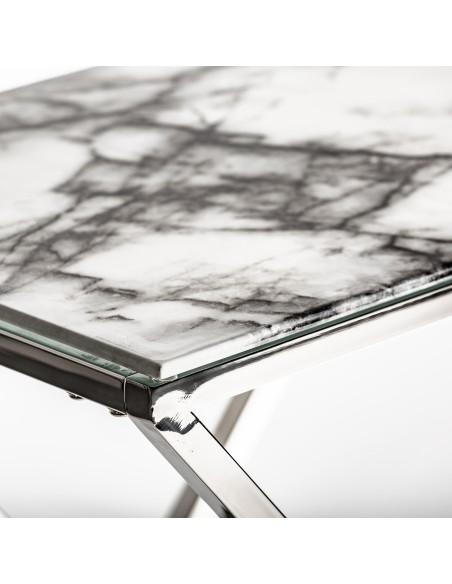 Consola Everest con plancha de vidrio efecto mármo