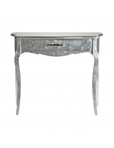 Consola de madera color plata efecto perla