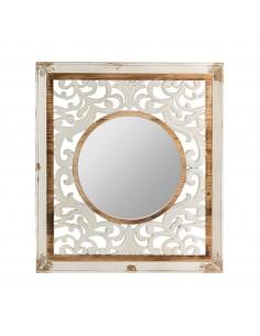 Espejo vintage blanco calcuta con marco de madera tallada