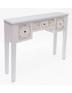 Consola Alba de madera tallada blanca con detalles dorados