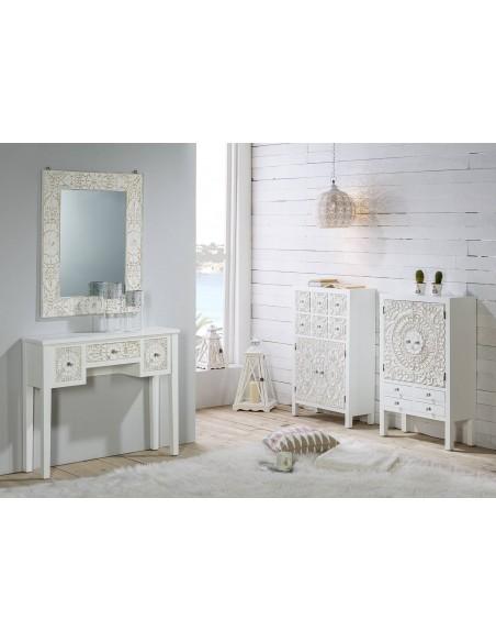 Espejo decorativo de madera blanco