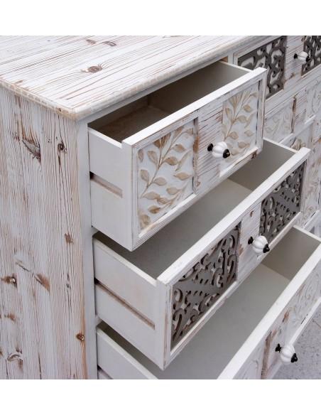 Cómoda de madera blanca rozada y plata/dorado