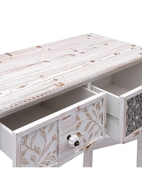 Consola auxiliar de madera blanca estilo vintage
