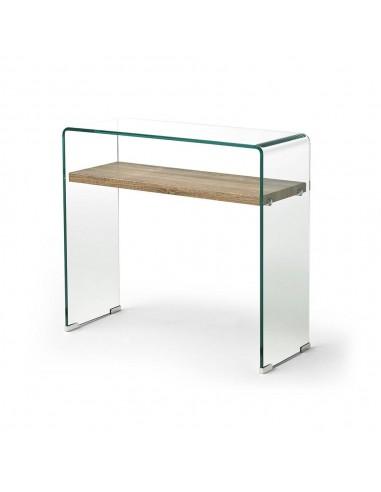 Consola Houston de cristal con estante de madera