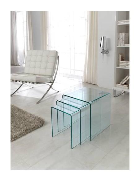 Juego de tres mesas auxiliares estilo nido de cristal