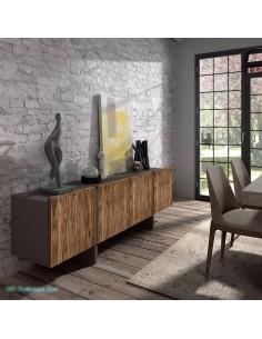 Aparador moderno cuero gris y frentes en leño natural