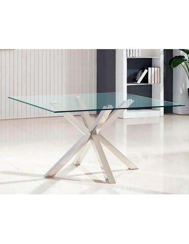Mesa de cristal de diseño moderno con base de acero inoxidable